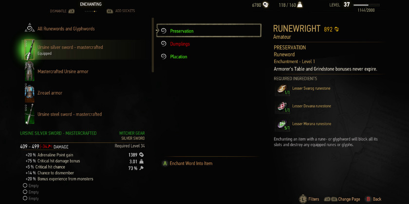 Скриншот Ведьмак 3 Дикая охота дополнение Каменные сердца Накладывание чар