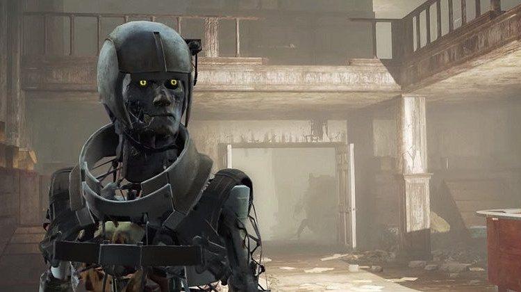 Fallout 4 жуткие андроиды и собачка